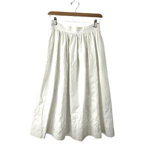 Escada Vintage White Cotton Midi Skirt US 2/ EU 36